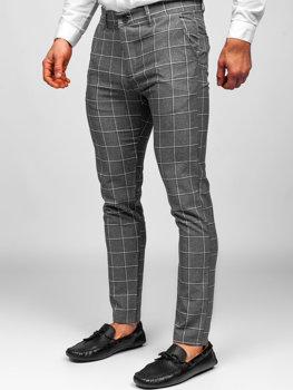 Šedé pánské textilní karované chino kalhoty Bolf 0002