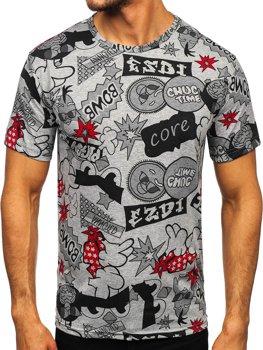 Šedé pánské tričko s potiskem Bolf 14917