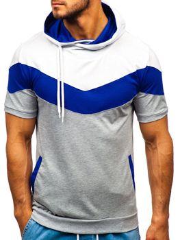 Šedé pánské tričko s potiskem a kapucí Bolf 9026