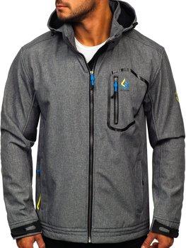 Šedo-modá pánská přechodová softshellová bunda Bolf AB006