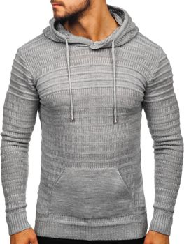 ?edy pánsky svetr s kapucí Bolf 7003