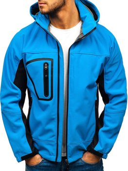 Světle modrá pánská softshellová bunda Bolf T019