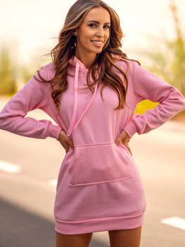 Světle růžová dámská dlouhá mikina s kapucí Bolf YS10003