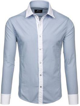 Světle šedá pánská elegantní košile s dlouhým rukávem Bolf 6882