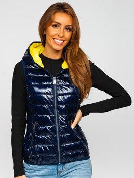 Tmavě modrá dámská prošívaná vesta s kapucí Bolf R9549