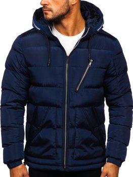 Tmavě modrá dámská prošívaná zimní bunda s kapucí Bolf 1181