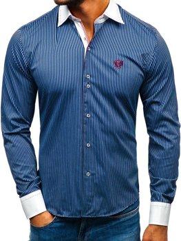 Tmavě modrá elegantní pánská proužkovaná košile s dlouhým rukávem Bolf 4784-A