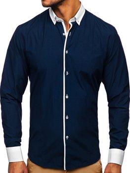 Tmavě modrá pánská elegantní košile s dlouhým rukávem Bolf 2782