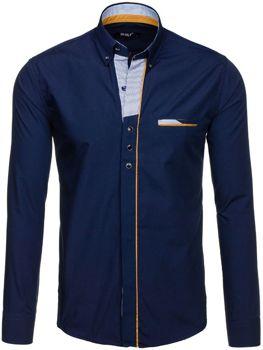 Tmavě modrá pánská elegantní košile s dlouhým rukávem Bolf 6956