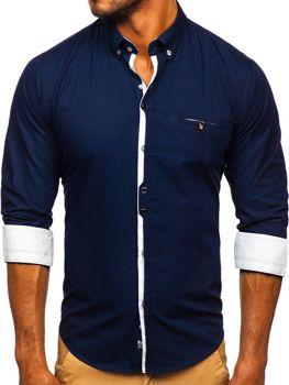 Tmavě modrá pánská elegantní košile s dlouhým rukávem Bolf 7720