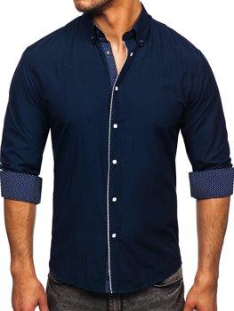 Tmavě modrá pánská elegantní košile s dlouhým rukávem Bolf 7724