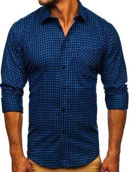 Tmavě modrá pánská flanelová košile s dlouhým rukávem Bolf F8