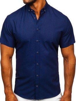 Tmavě modrá pánská košile s krátkým rukávem Bolf 20501