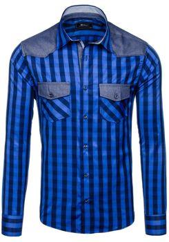 Tmavě modrá pánská kostkovaná košile s dlouhým rukávem Bolf 6904