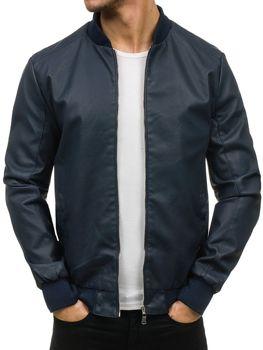 Tmavě modrá pánská kožená bunda z ekokůže Bolf 3309