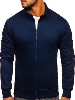 Tmavě modrá pánská mikina na zip bez kapuce Bolf B2002