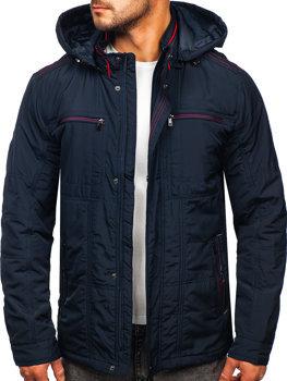 Tmavě modrá pánská přechodová bunda s kapucí Bolf BK026