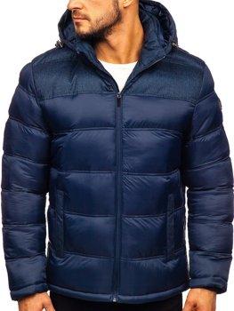 Tmavě modrá pánská pro?ívaná sportovní zimní bunda Bolf AB72
