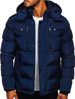 Tmavě modrá pánská prošívaná zimní bunda Bolf 1182
