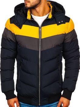 Tmavě modrá pánská zimní bunda Bolf 5808