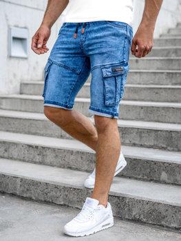 Tmavě modré pánské džínové kapsáčové kraťasy Bolf HY909