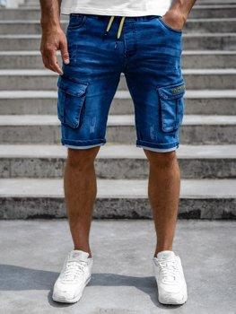 Tmavě modré pánské kapsáčové džínové kraťasy Bolf HY663
