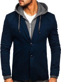 Tmavě modré pánské ležérní sako s kapucí Bolf 66