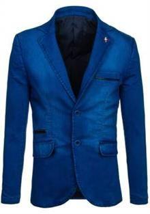 Tmavě modré pánské sako casual Bolf 051