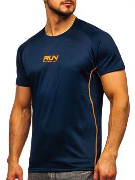Tmavě modré pánské sportovní tričko s potiskem Bolf KS2101