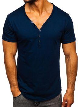 Tmavě modré pánské tričko bez potisku Bolf 4049