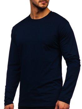 Tmavě modré pánské tričko s dlouhým rukávem bez potisku Bolf 172007