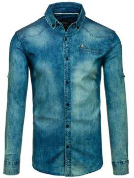 Tmavě modro-šedá pánská džínová košile s dlouhým rukávem Bolf 0321-1
