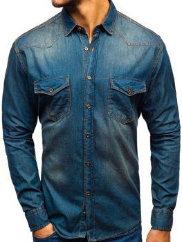 Tmavě modro-šedá pánská džínová košile s dlouhým rukávem Bolf 1331