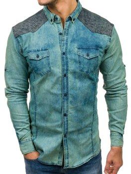Tmavě modro-šedá pánská vzorovaná džínová košile s dlouhým rukávem Bolf 0517-1