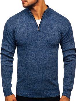 Tmavě modrý pánský propínací svetr Bolf 8260
