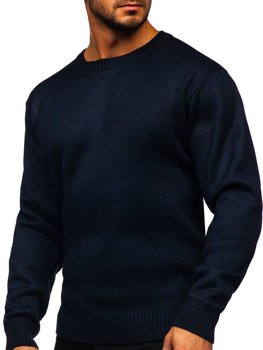 Tmavě modrý pánský zateplený svetr na zip Bolf 7M117