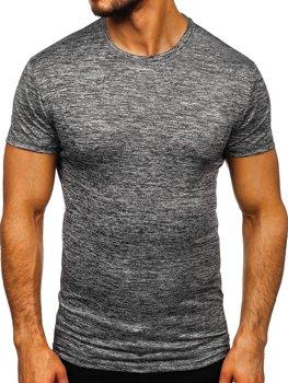 Tmavě šedé pánské tričko bez potisku Bolf S01