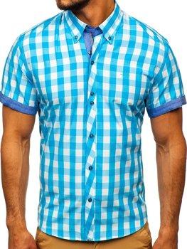 Tyrkysová pánská kostkovaná košile s krátkým rukávem Bolf 6522