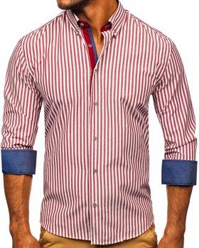 Vínová pánská pruhovaná košile s dlouhým rukávem Bolf 20704