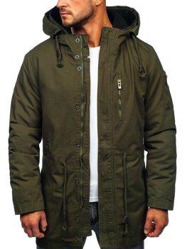 Zelená pánská zimní/jarní bunda 2v1 parka s odepínací vložkou Bolf 5283
