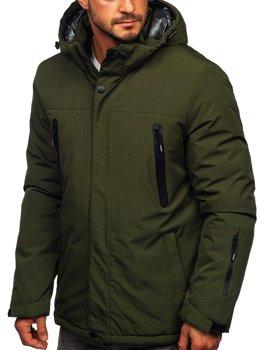 Zelená pánská zimní lyžařská sportovní bunda Bolf 9801