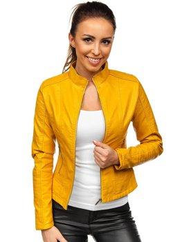 Žlutá dámská koženková bunda Bolf B12