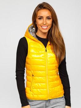 Žlutá dámská prošívaná vesta s kapucí Bolf 9563