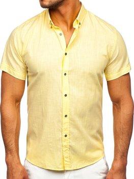 Žlutá pánská bavlněná košile s krátkým rukávem Bolf 20501