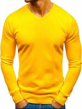 Žlutý pánský svetr s výstřihem do V Bolf 2200