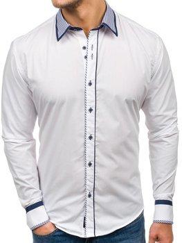 Bílá pánská elegantní košile s dlouhým rukávem Bolf 4774
