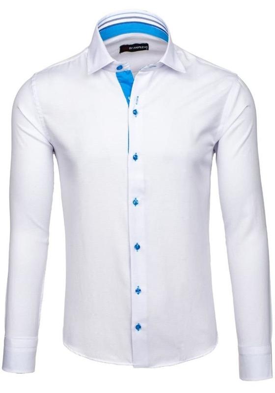 Bílá pánská elegantní košile s dlouhým rukávem Bolf 6923