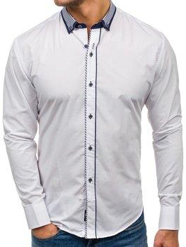Bílá pánská elegantní košile s dlouhým rukávem Bolf 6941
