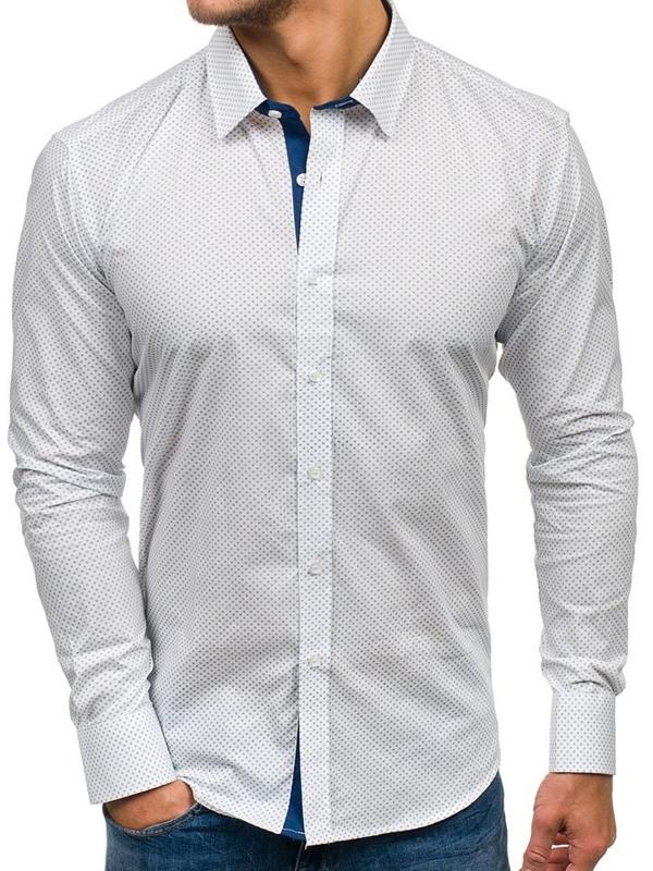 Bílá pánská vzorovaná košile s dlouhým rukávem Bolf GET1014