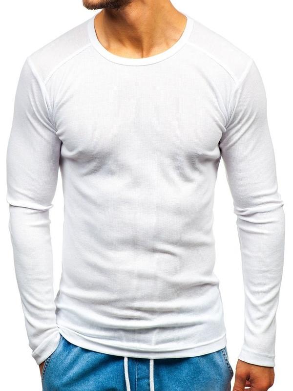 Bílé pánské tričko s dlouhým rukávem bez potisku Bolf C10038